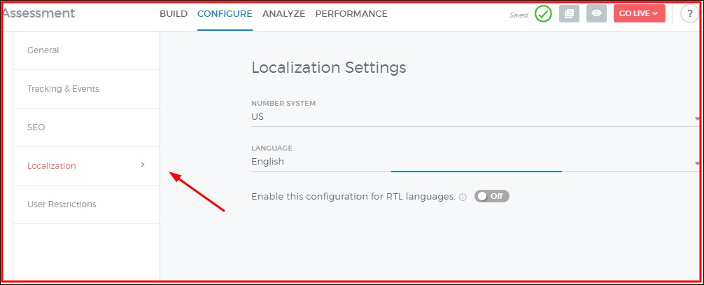 localization feature on outgrow